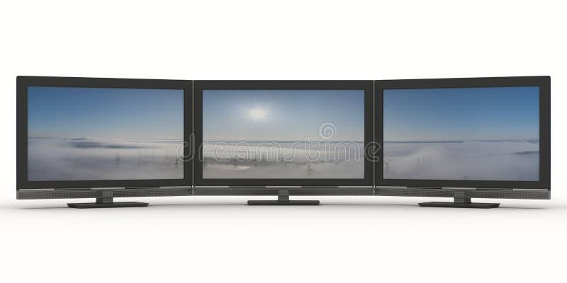 Trois TV sur le fond blanc illustration stock