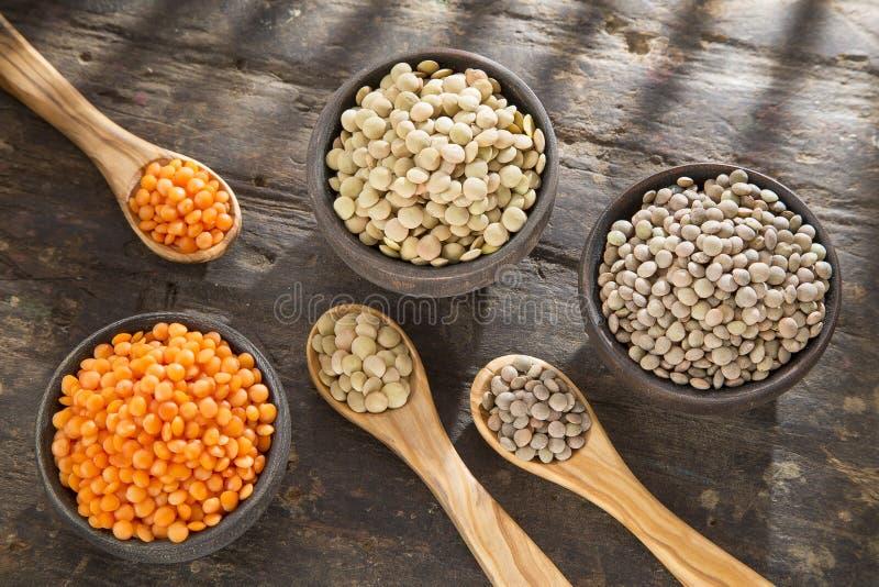 Trois types de lentilles - culinaris de lentille photo libre de droits