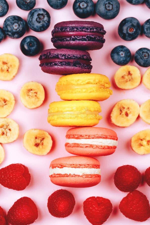 Trois types de macarons de fruit photo libre de droits