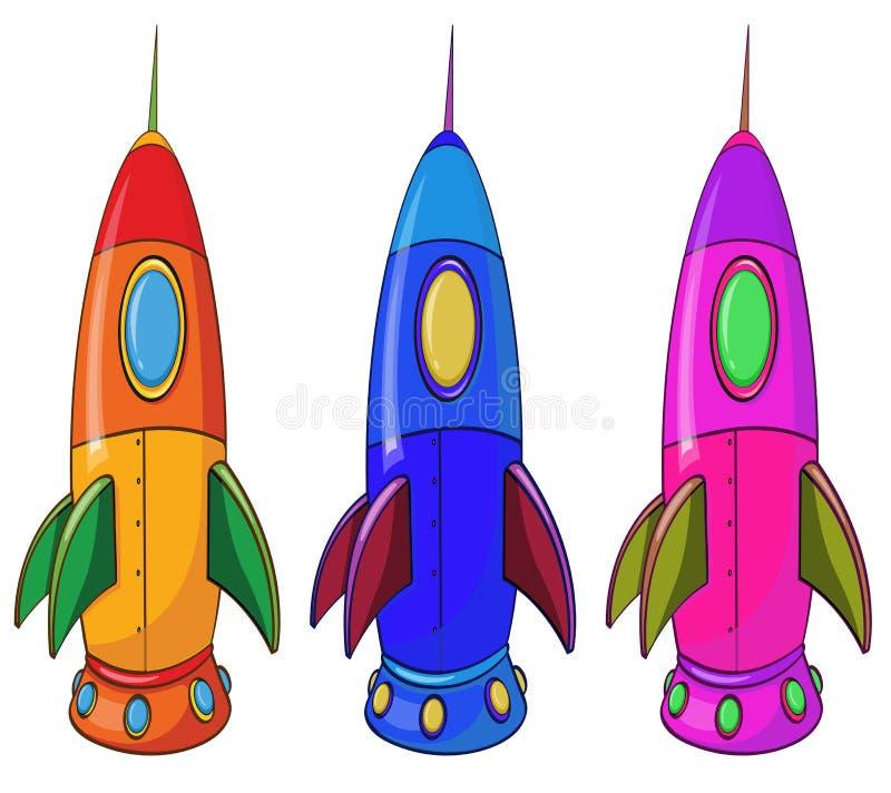 Trois vaisseaux spatiaux colorés illustration libre de droits