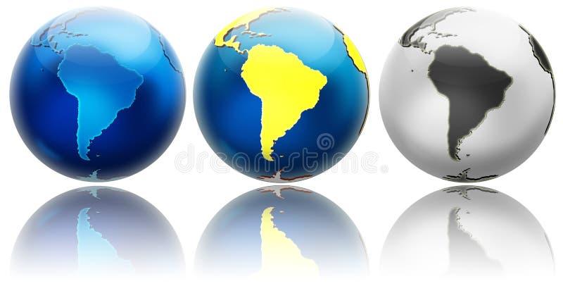 Trois variations différentes Amérique du Sud de globe illustration libre de droits