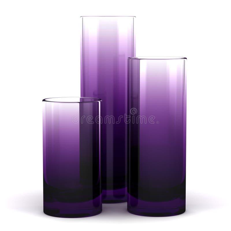 Trois vases en verre pourprés d'isolement sur le blanc illustration libre de droits