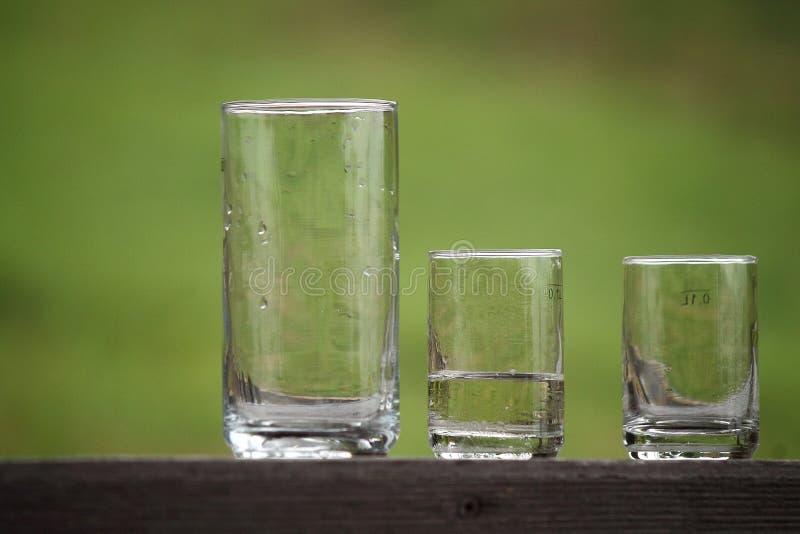 Trois verres dans le jardin photo libre de droits