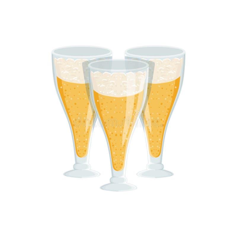 Trois verres grands de Lager Beer mousseux, festival d'Oktoberfest boit la commande de menu de barre illustration stock
