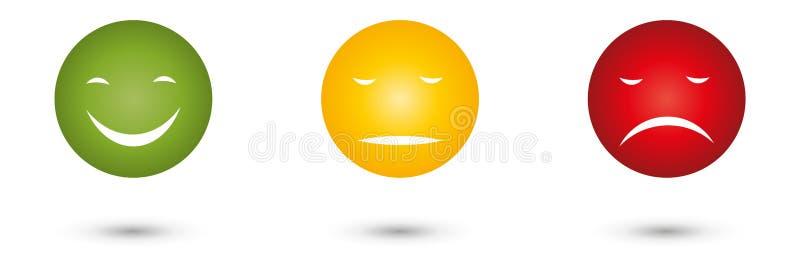 Trois visages avec les modes, le feu de signalisation et le logo de commentaires illustration libre de droits