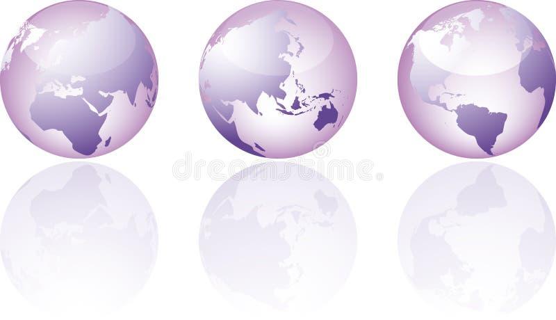 Trois visions mondiales en verre illustration stock