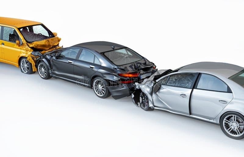 Trois voitures écrasées dans l'accident Vue d'oeil d'oiseau illustration de vecteur