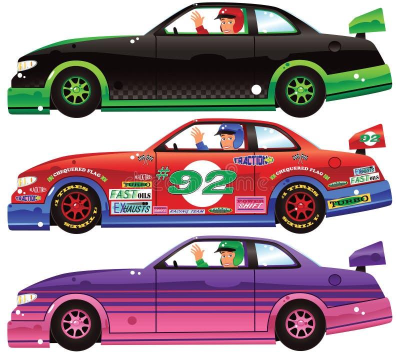 Trois voitures de course et conducteurs illustration stock
