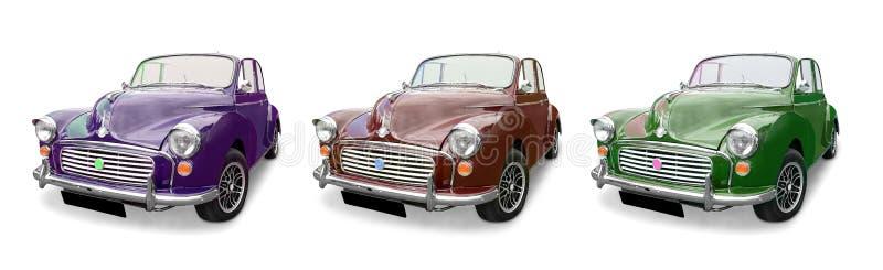 Trois voitures de Morris Minor photo stock