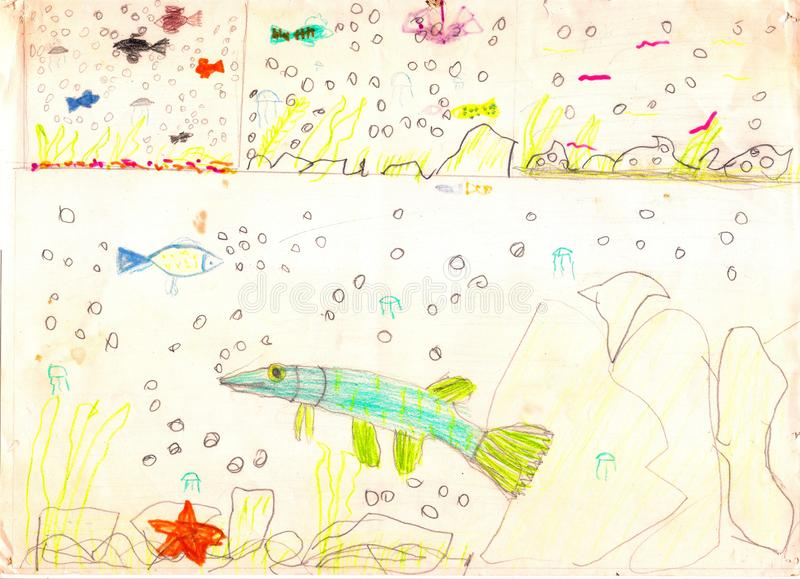 Trois vues de la vie sous-marine avec les poissons, les étoiles de mer, les pierres et les bulles multicolores Retrait d'enfant illustration de vecteur