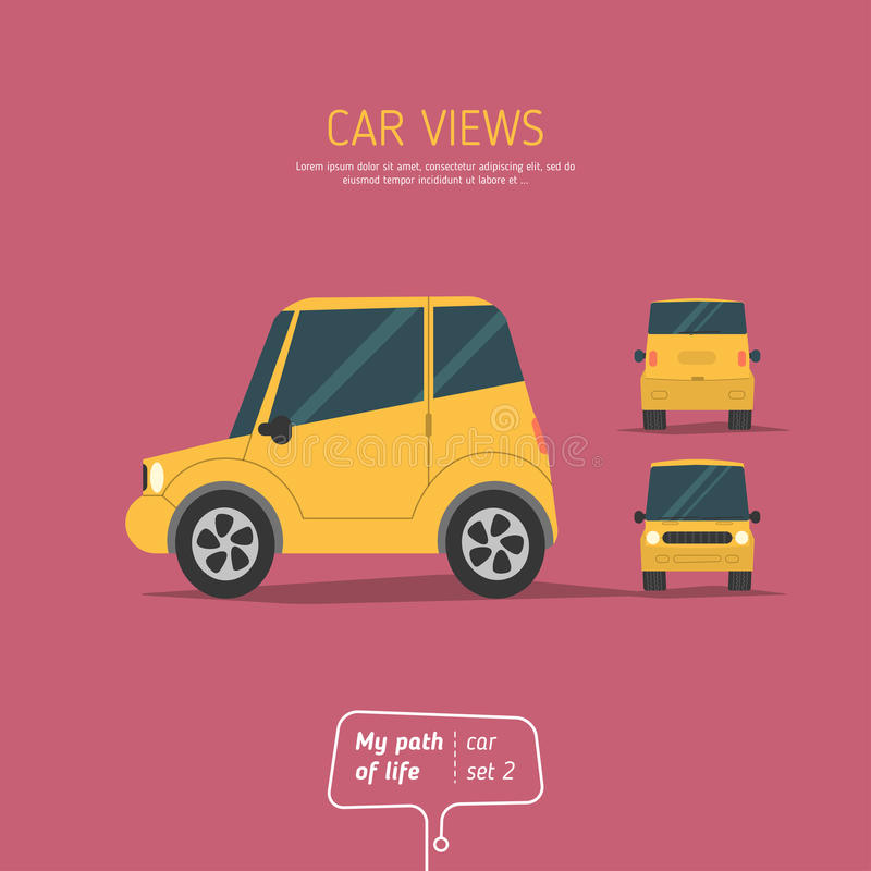 Trois vues de la voiture illustration libre de droits