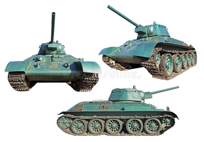 Trois vues du vieux réservoir blindé soviétique de la deuxième guerre mondiale T-34 image libre de droits