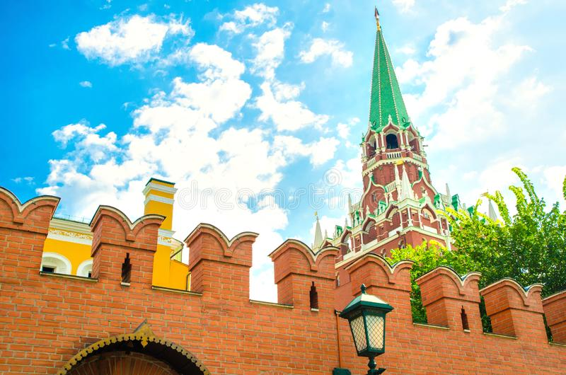 Troitskaya tower. In the Kremlin stock photos
