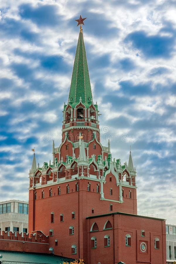 Troitskaya Tower. Of Moscow Kremlin stock images