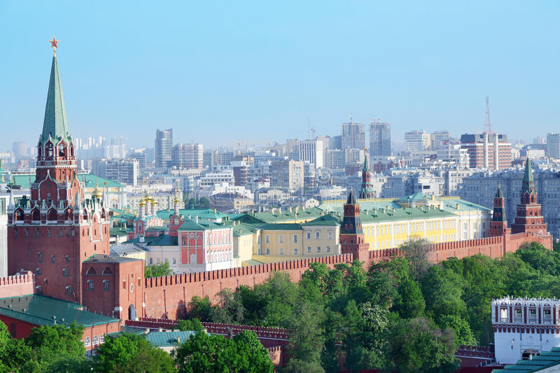 Troitskaya Tower, temples and buildings of Kremlin. Middle Arsenal Tower, Borovitskaya Tower in Moscow, Russia stock photos