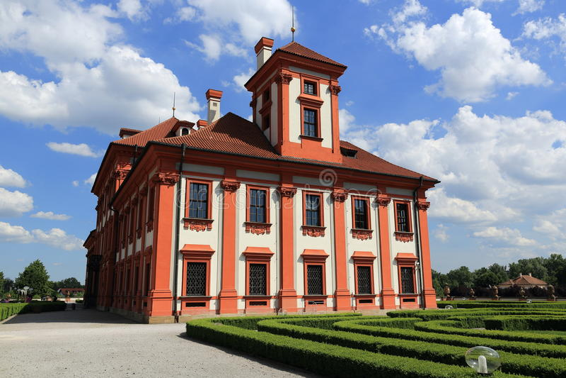 Troja宫殿是位于Troja的一个巴洛克式的宫殿,布拉格的西北自治市镇(捷克) 免版税库存照片