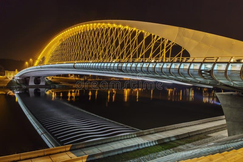 Troja bro på natten royaltyfri foto
