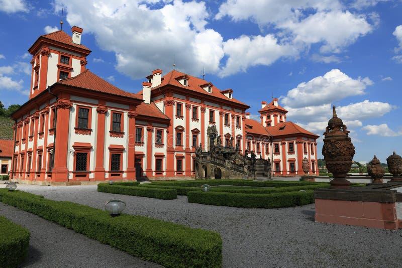 Troja-Palast ist ein barocker Palast, der in Troja, Prags Nordweststadt gelegen ist (Tschechische Republik) stockfoto
