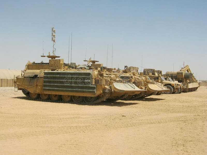 Trojan Armoured Vehicle. As used by the Royal Engineers Brithish Army in Helmund Province Afghanistan stock image