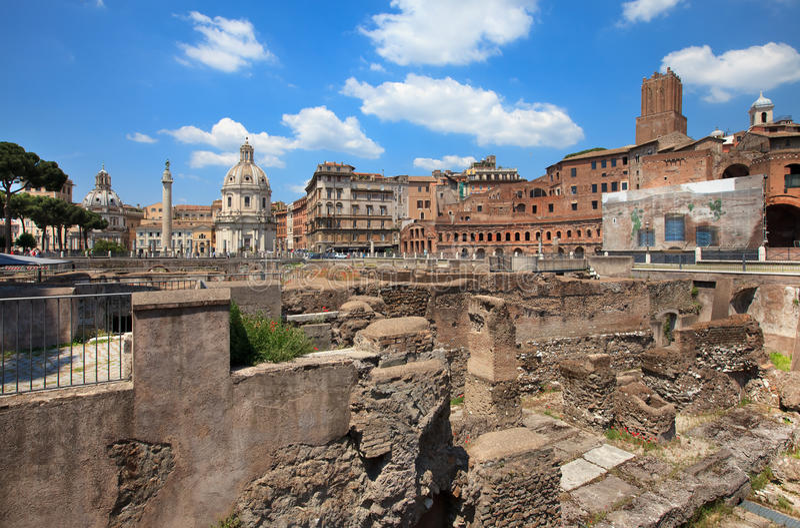 Trojan column,churches of Santa Maria royalty free stock photo