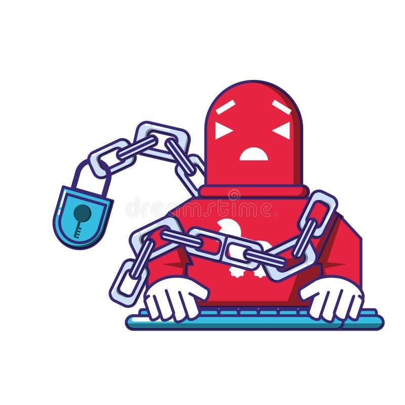 Trojan de robot de cyborg avec la chaîne et le cadenas illustration libre de droits