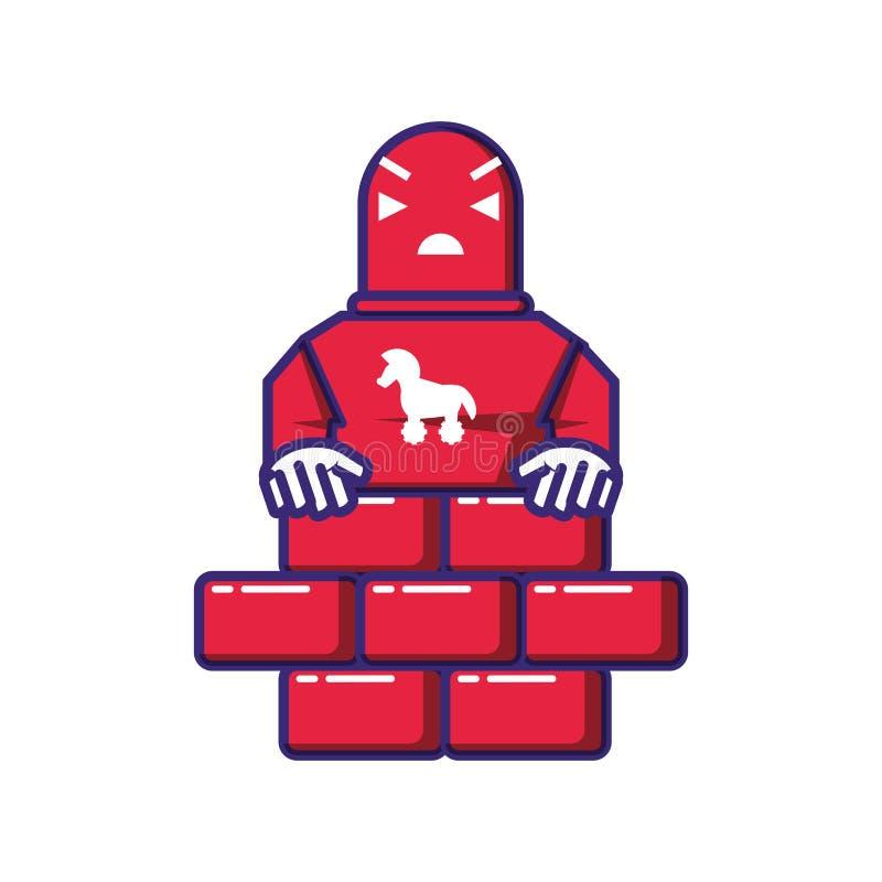Trojan do robô do Cyborg com parede ilustração royalty free