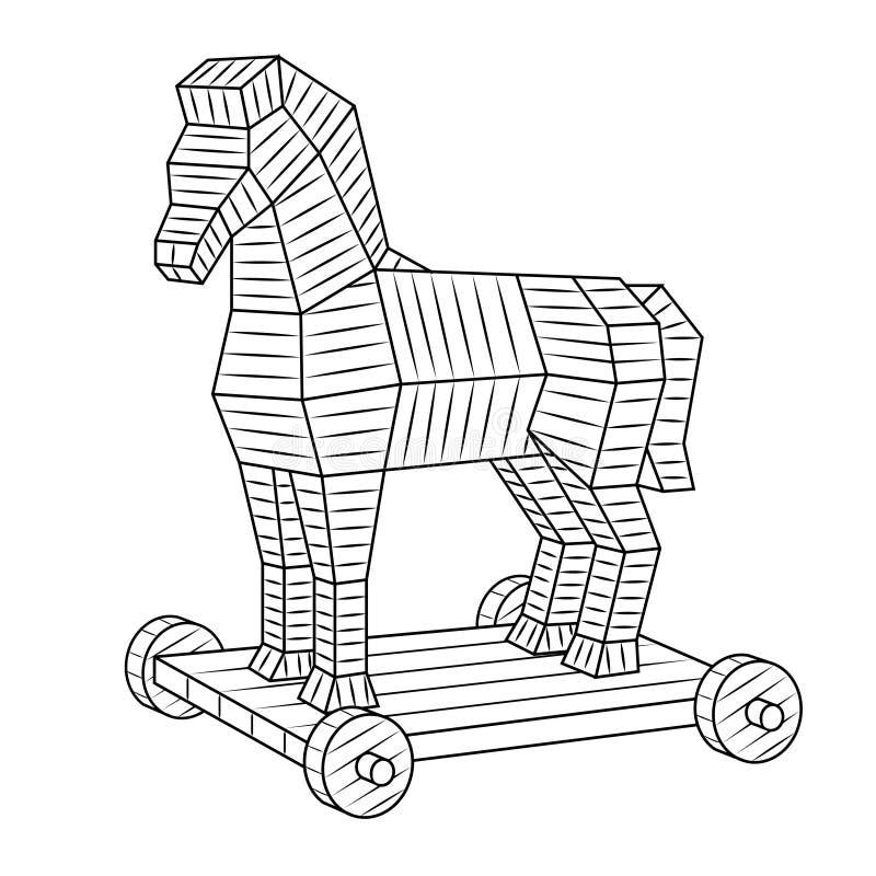 Trojan horse coloring book vector royalty free illustration