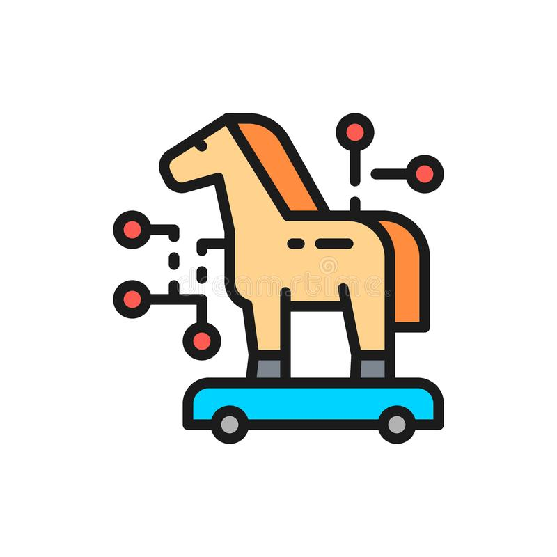 Trojan horse, cyber crime, virus flat color line icon. Vector trojan horse, cyber crime, virus flat color line icon. Symbol and sign illustration design stock illustration