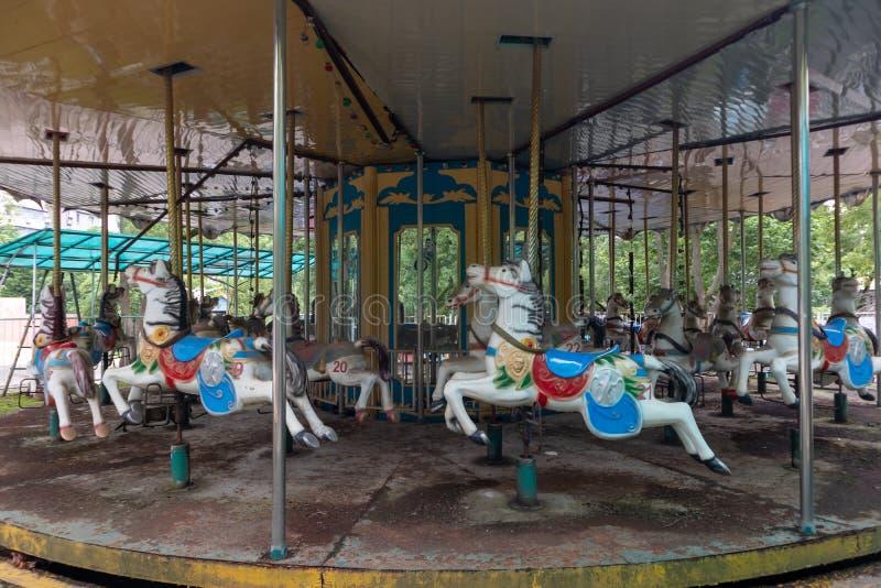 Trojan Horse de rotation en parc photographie stock libre de droits