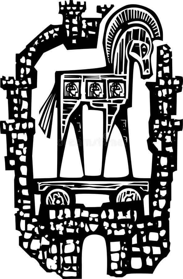 Trojan Horse in den Wänden stock abbildung