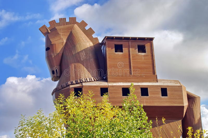 Landmark attraction Trojan Horse in troy ancient port city Canakkale, Turkey royalty free stock image
