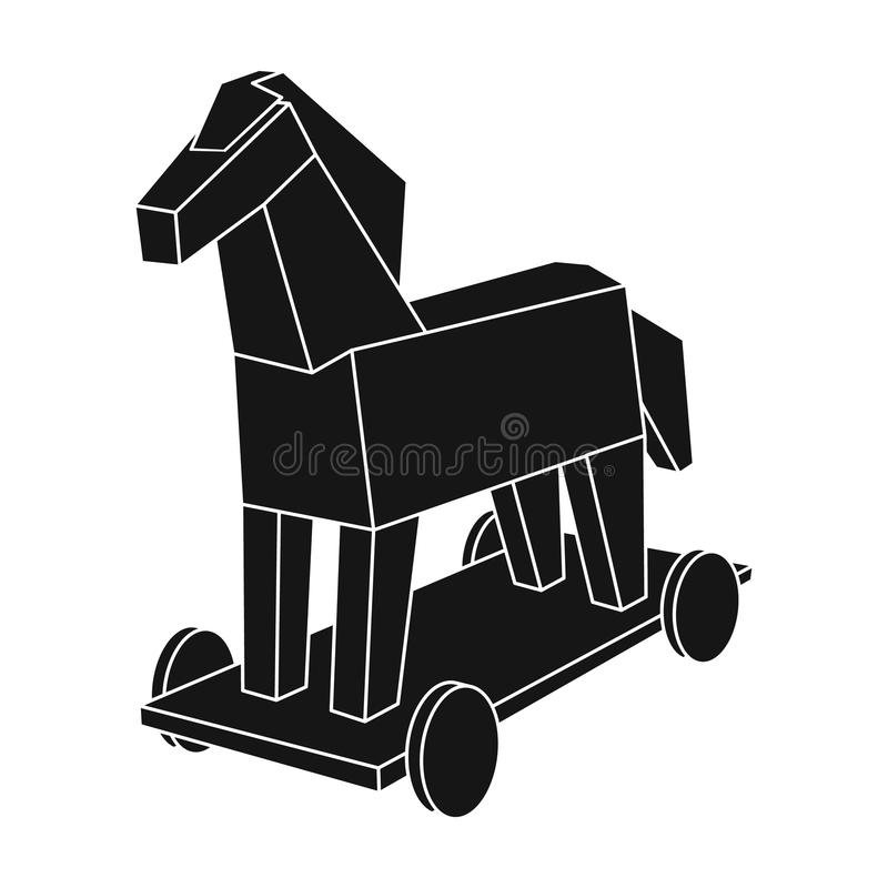 Trojan horse icon in black style isolated on white background. Hackers and hacking symbol stock vector illustration. vector illustration