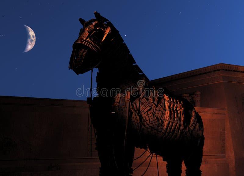 Trojan Horse na noite ilustração stock
