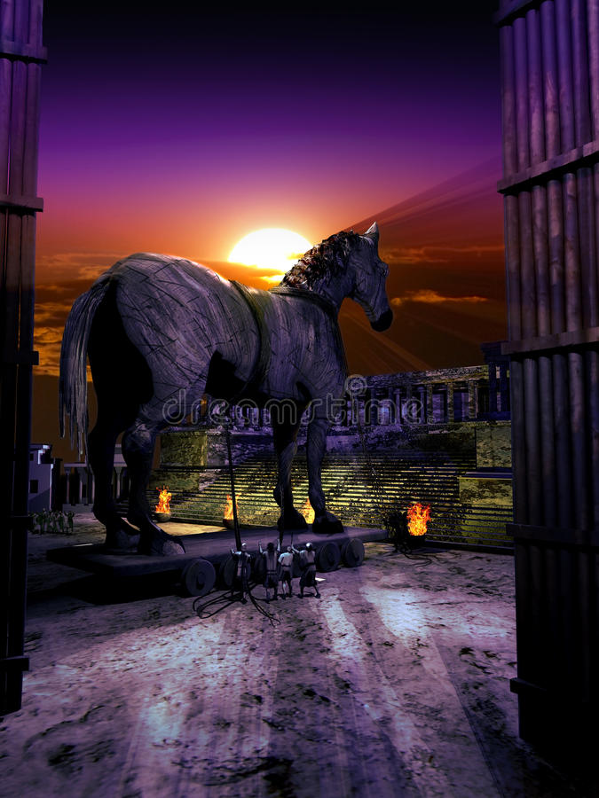 Trojan horse. The trojans have pulled inside their city the wooden horse constructed by the greeks royalty free illustration
