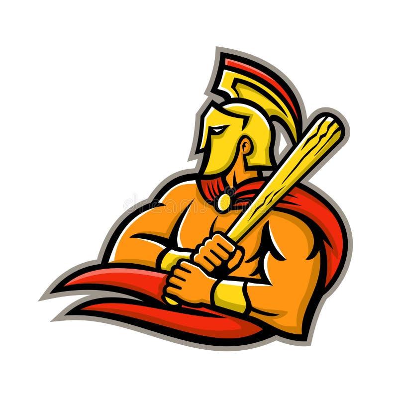 Trojan krigarebasebollspelaremaskot royaltyfri illustrationer