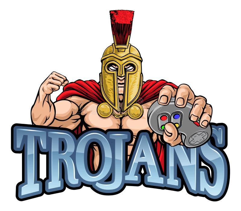 Trojan Spartan Gamer Gladiator Controller Mascot lizenzfreie abbildung
