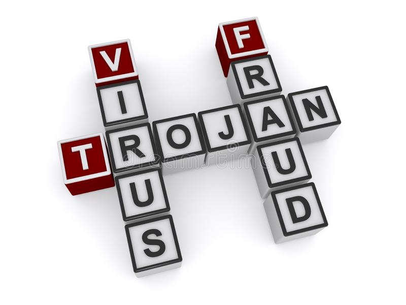 Trojan virus fraud word block stock illustration