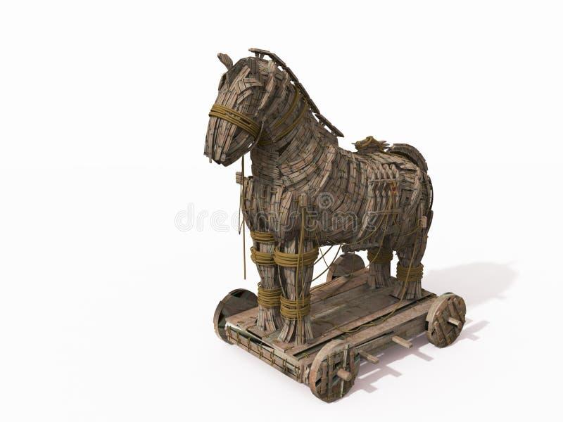 trojan white för häst royaltyfri illustrationer