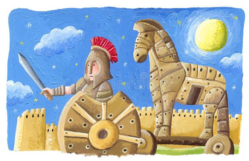 Trojanisches Pferd - Trojanischer Krieg, griechische Mythologie lizenzfreie stockfotos