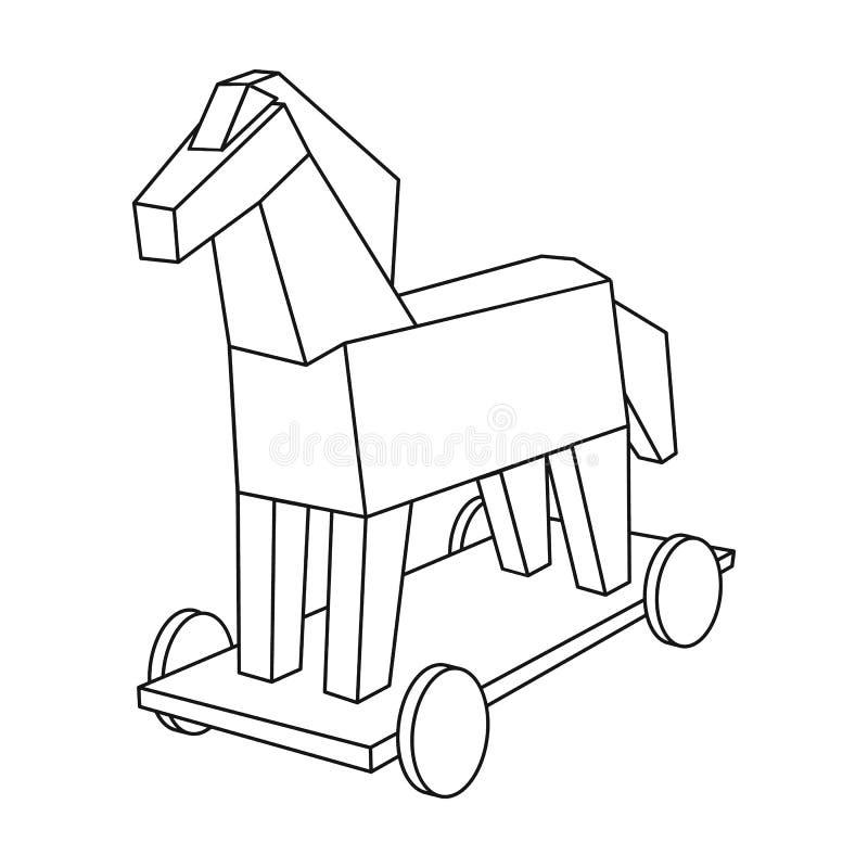 Trojanska hästensymbol i översiktsstil som isoleras på vit bakgrund stock illustrationer