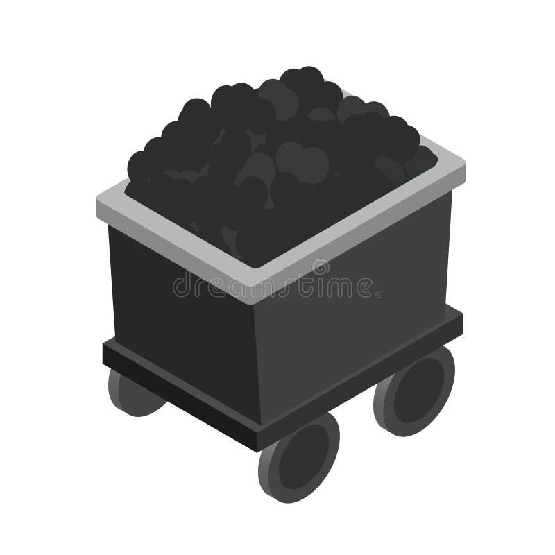 Trole com ícone isométrico de carvão 3d ilustração stock
