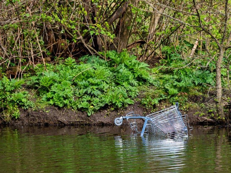 Trole cromado no banco da lagoa jogado na água imagens de stock