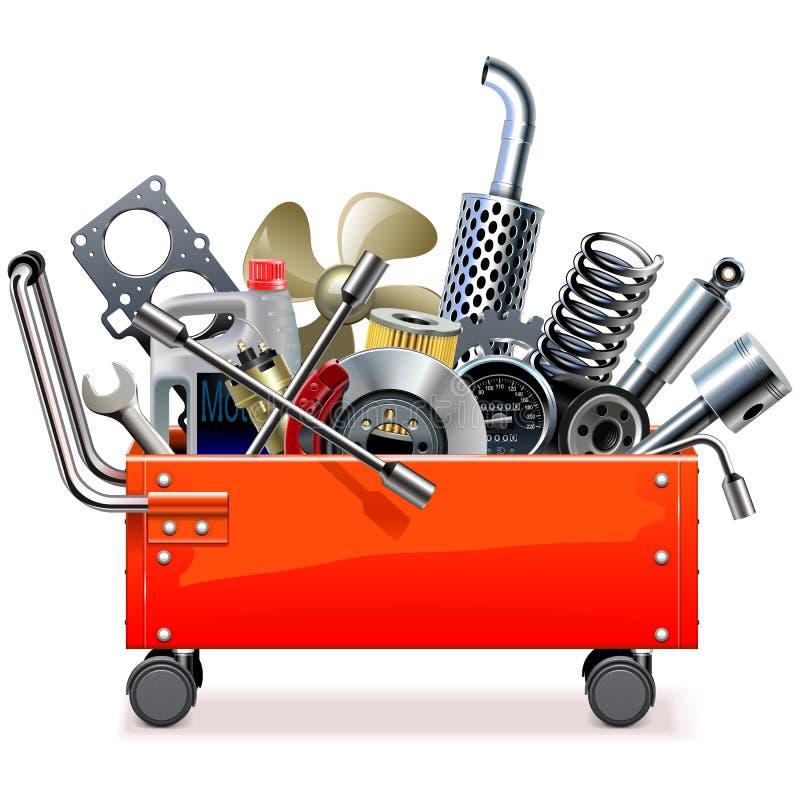 Trole da caixa de ferramentas do vetor com sobressalentes do carro ilustração stock