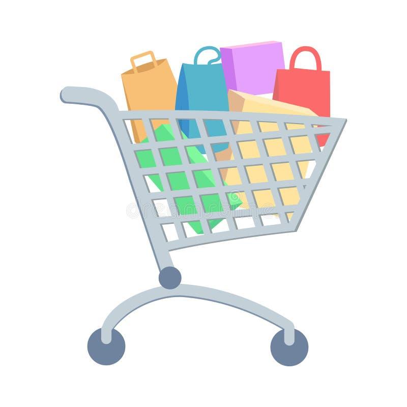 Trole da compra com ícone liso do vetor dos bens ilustração do vetor