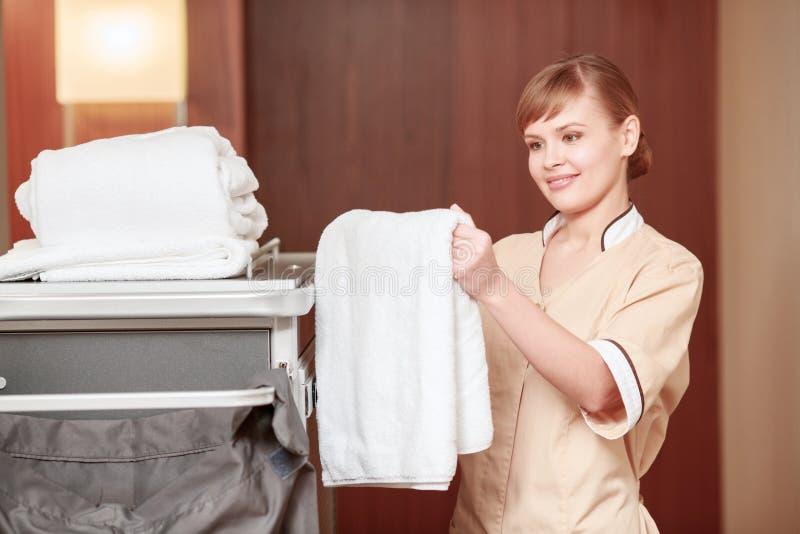 Trole da empregada doméstica no salão foto de stock royalty free