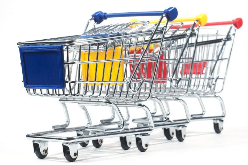 Trole de compra isolado imagens de stock