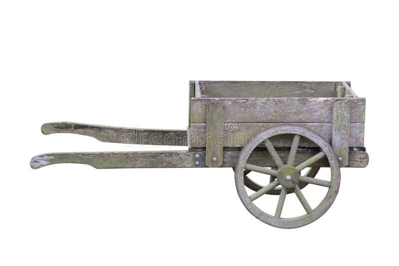 Trole de madeira antigo do jardim isolado no fundo branco fotografia de stock royalty free