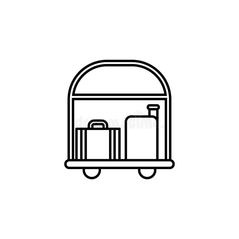 trole do hotel com ícone da bagagem Elemento do otel e dos motéis para apps móveis do conceito e da Web Linha fina ícone para o p ilustração do vetor