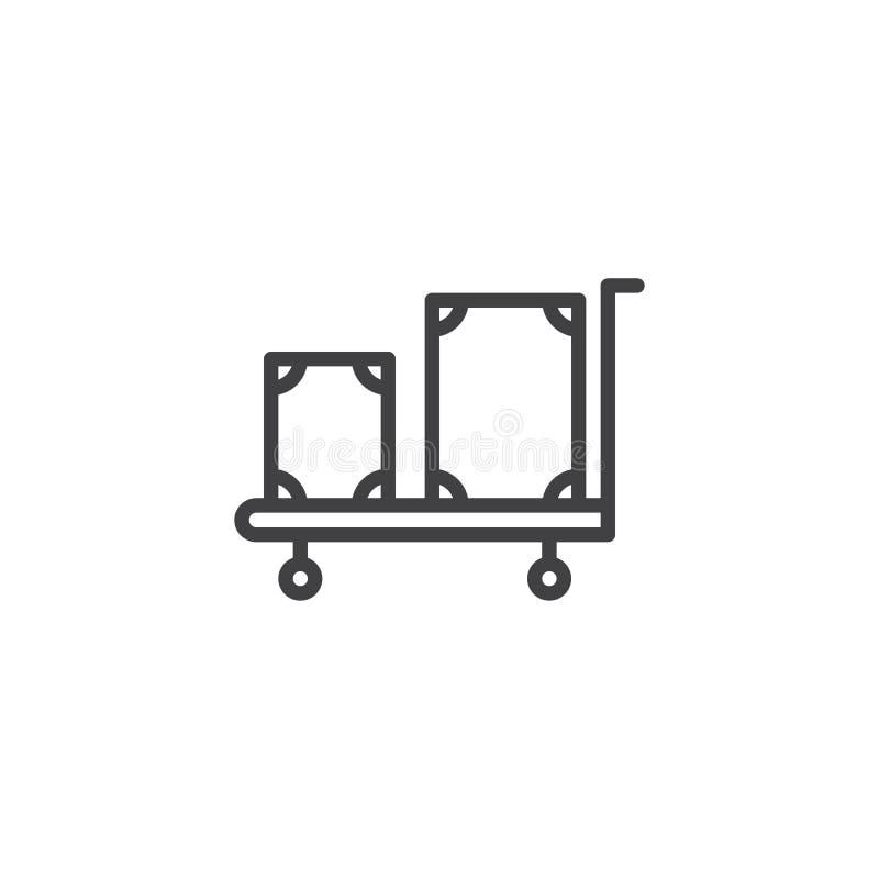 Trole do hotel com ícone do esboço da bagagem ilustração royalty free