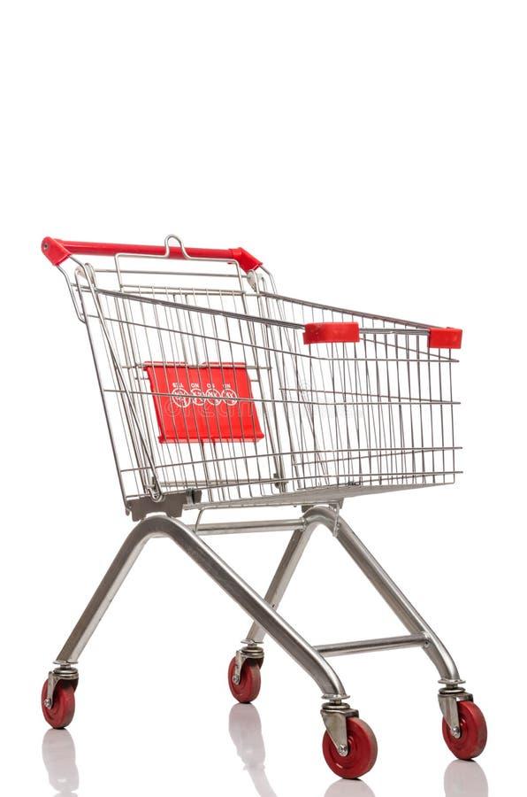 Trole do supermercado da compra isolado foto de stock